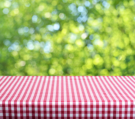 Empty table and defocused fresh green background photo