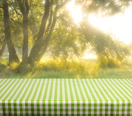 Empty table and nature background photo