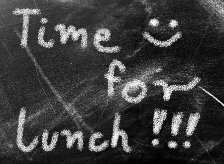 Chalkboard with text time for lunch photo