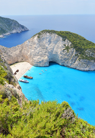 Navagio beach in greece island Zakynthos photo