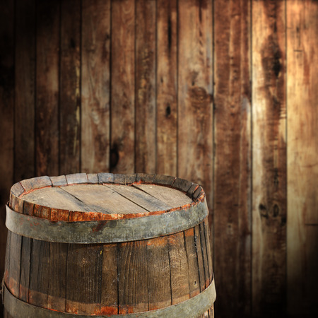 wood barrel: empty barrel for product display montages Stock Photo