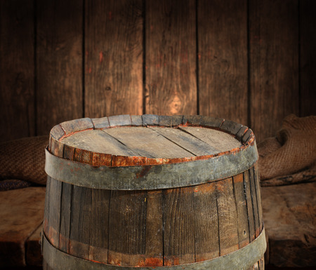 empty barrel for product display montages photo