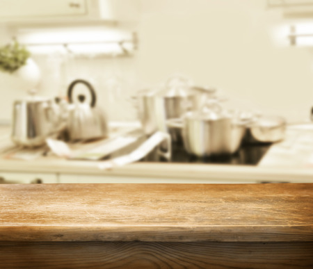 kitchen counter top: empty table for product display montages Stock Photo