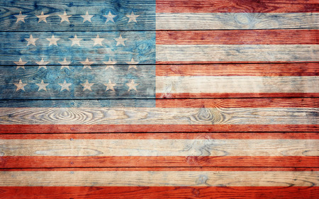 usa flag on old wooden wall photo