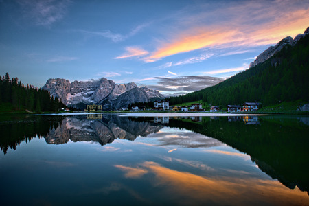 awesome wallpaper: Misurina lake in Italy Stock Photo