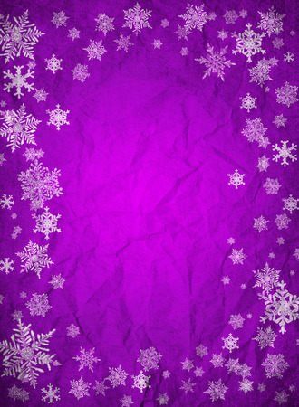 Purple christmas background with snowflakes photo