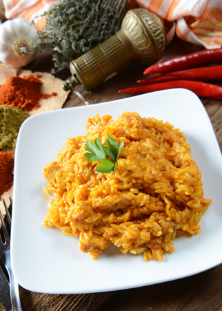 Traditional india meal - rice tikka masala with chicken photo