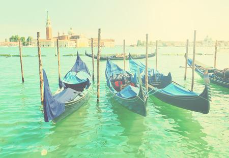 saint mark square: Vintage landscape of famous italian city - Venice Stock Photo