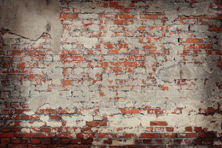 broken wall: old brick wall background Stock Photo