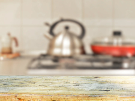 kitchen background: empty table for product display monatges