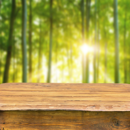 empty wooden table for display montages photo