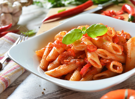 penne: Penne pasta with chili sauce arrabiata