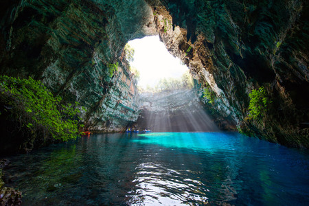 kefalinia: Famous melissani lake on Kefalonia island - Greece