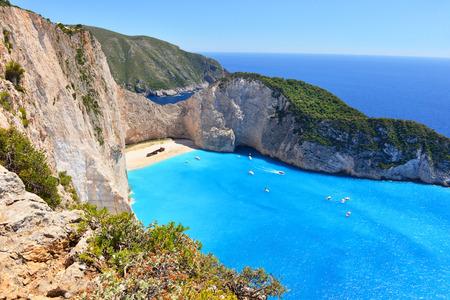 greece: Navagio Beach on Zakynthos Island in Greece