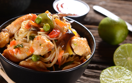 rice noodles: Chicken with Rice Noodles and Vegetables Stock Photo