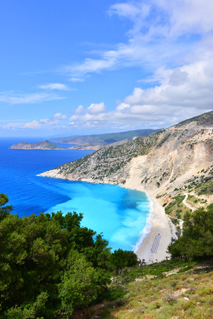kefalinia: Famous beach Mirtos on Kefalonia island in Greece Stock Photo