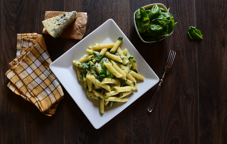 pasta sauce: Penne pasta with gorgonzola sauce and spinach