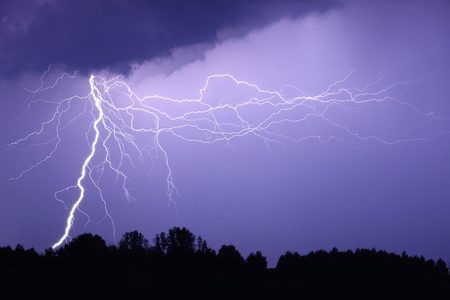 Lightning bolt at night Stock Photo