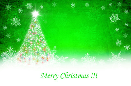 Green christmas background with white snow flakes