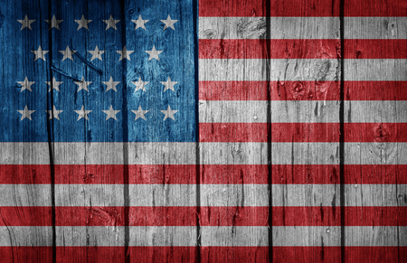 old flag: USA flag painted on old wooden background