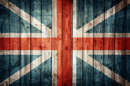brit: England flag painted on old wooden background