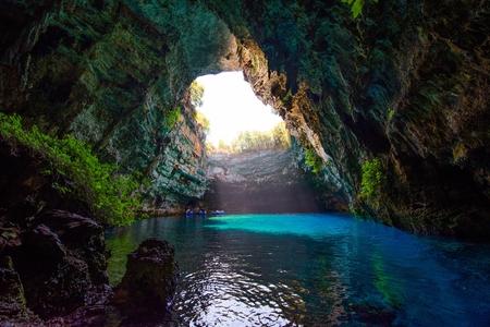 cefallonia: Famous melissani lake on Kefalonia island - Greece