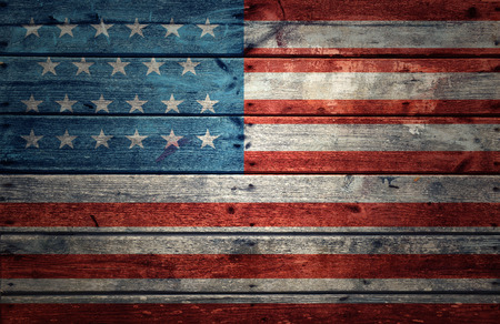 old flag: USA flag on wooden background Stock Photo