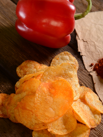 nosh: Potato chips- paprika flavour Stock Photo