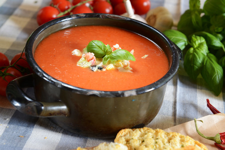 gazpacho: Gazpacho soup - traditional spain soup from andalusia Stock Photo