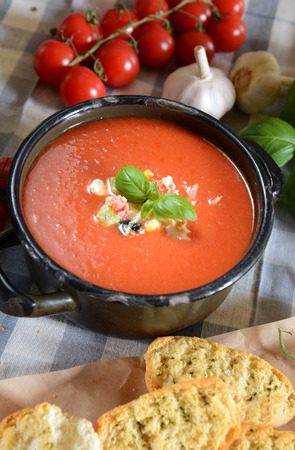 andalusia: Gazpacho soup - traditional spain soup from andalusia Stock Photo