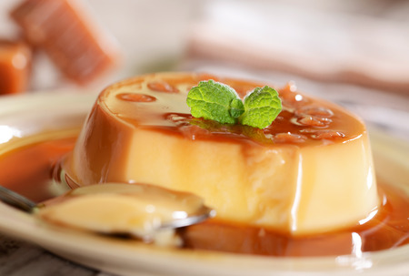 Panna cotta dessert with caramel sauce Stockfoto