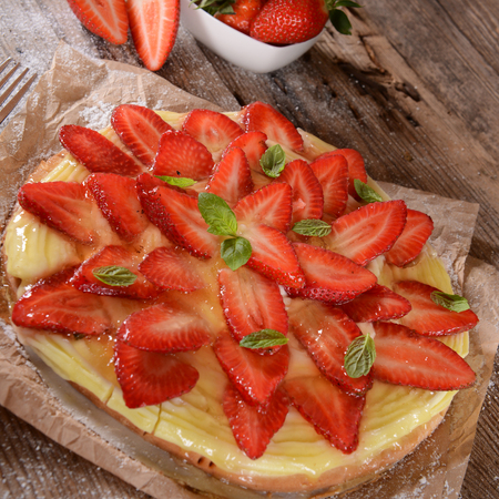 short crust pastry: Homemade strawberry tart Stock Photo