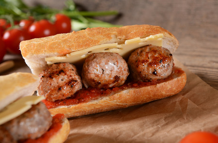 hoagie: Sandwich with meat balls, cheese and sauce Stock Photo