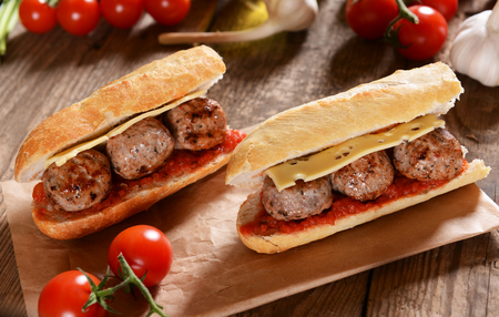 cooked pepper ball: Sandwich with meat balls, cheese and sauce Stock Photo