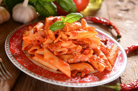 pasta sauce: Penne pasta with hot chili sauce arrabiata