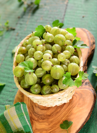 Basket of fresh gooseberries