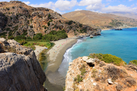 Preveli beach on Crete island. Greece Stock Photo
