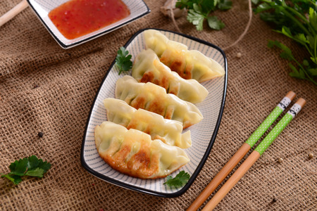 soi: Gyoza dumplings Stock Photo