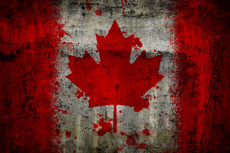 Canada flag painted on old rusty metal background Stock Photo