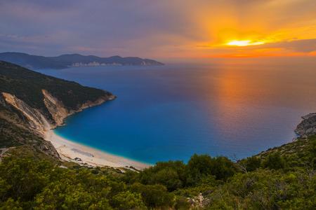 Sunset at Myrtos beach- Kefalonia, Greece Stock Photo