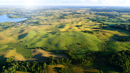 Aerial view of masuria district in Poland