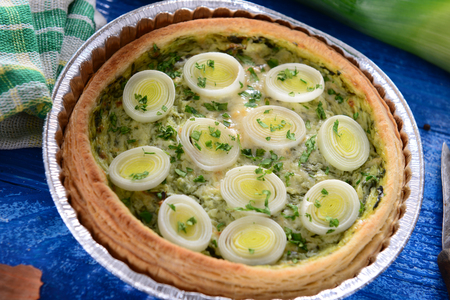leeks: Leeks quiche Stock Photo
