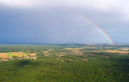 Rainbow seen from the air Stock Photo