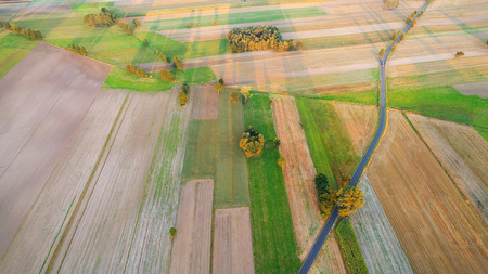 Aerial landscape with fields
