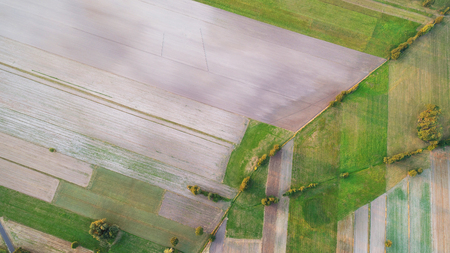 Aerial landscape with fields at sunset Stock Photo