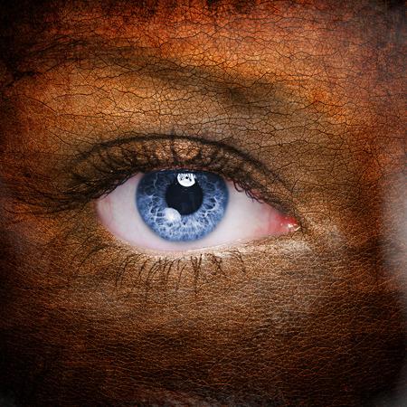 leather texture: Textured human face close up