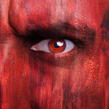 Textured human face close up