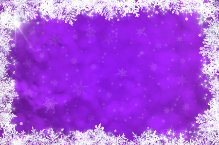 Purple christmas background with white snowflakes and stars Stock Photo