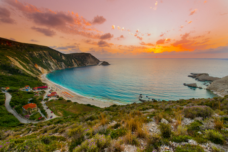 Beautiful sunset over mediterranean beach