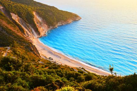 Sunset at famous Myrtos beach - Kefalonia - Greece Stock Photo